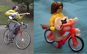 Lego model of The Bicycling Guitarist