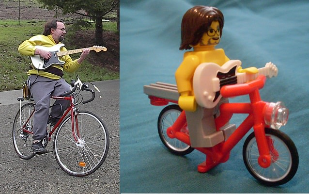 side by side photographs comparing the real Bicycling Guitarist to a Lego model replica