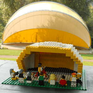 photo of the real Nichols Band Shell with an earlier prototype version of this Lego model