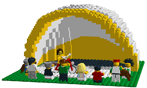 view from front of Lego Half Shell model