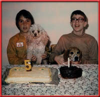 two kids, two dogs, two cakes