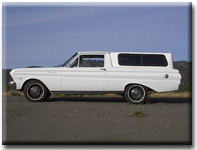 left side view of white 1965 Ranchero