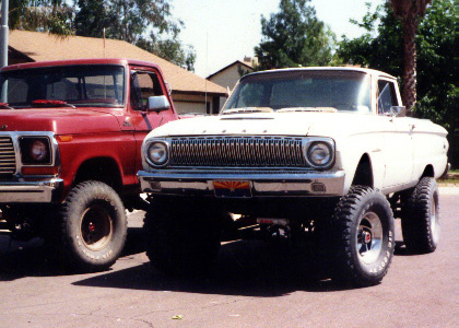Customized 1962 Ranchero next to a full-size Ford pickup
