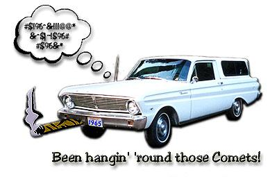 picture of my Ranchero with cartoon graphics of smoking cigar and cuss words thought balloon