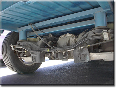 custom rear suspension on a Ranchero