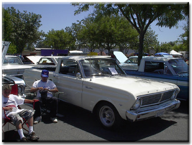 a white 1965 Ford Ranchero similar to mine but without a camper shell