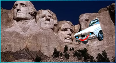 Ranchero taking Lincoln's place on Mount Rushmore