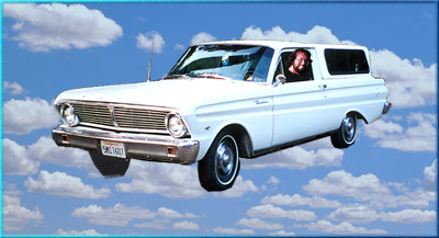 Ranchero in the sky among clouds
