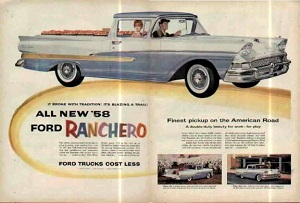ad for 1958 Ranchero, double-duty beauty