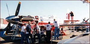 Miss Ashley II being worked on in the pits at Reno, September 1998