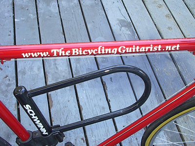 My domain name painted on my bicycle's frame