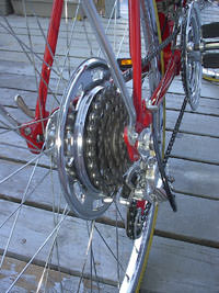 freewheel and chain as installed on the bicycle