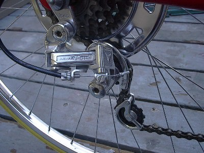 NOS rear derailleur installed on the bicycle