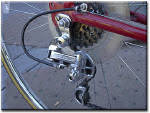 very shiny rear derailleur on bicycle