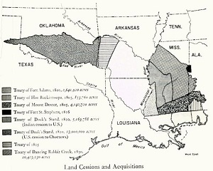 Map showing land cessions and acquisitions