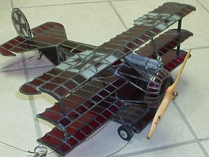 Stained glass model of Fokker Triplane